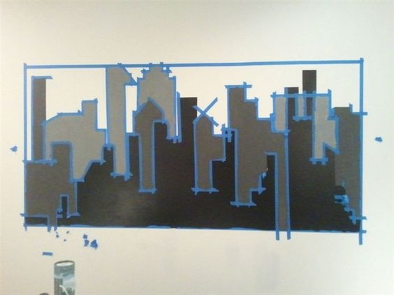 Gotham city chalkboard paint and murals on pinterest for Cityscape wall mural