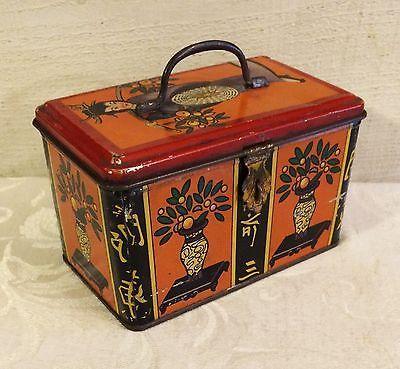 Beautiful-Vintage-Italian-Candy-Tin-Box-Orange-w-Geisha-Vases-Asian-Decor
