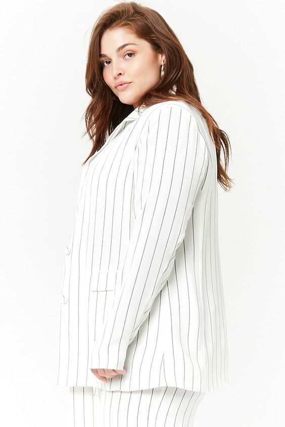 Plus Size Striped Button-Front Blazer | Forever 21