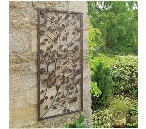 GARDEN CLIMBING ROSE WALL ART PANEL. ORNAMENTAL BRONZE PAINTED STEEL.  DECORATIVE By Gardman,  Http://www.amazon.co.uk/dp/B008PDNOM0/refu003dcm_sw_r_pi_du2026