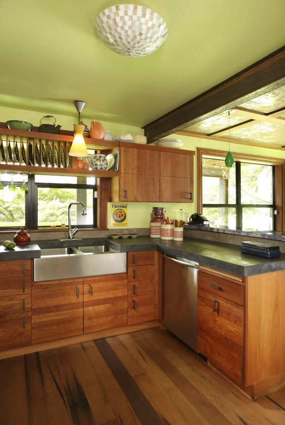 Concrete Countertops Countertops And Wood Cabinets On