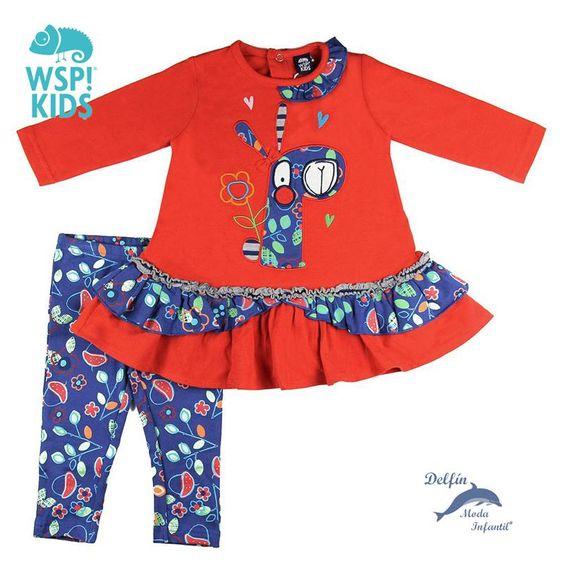 Conjunto para bebe niña de WSPKIDS de vestido jirafa con leggings