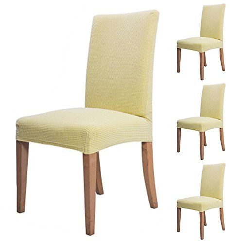 Happyyous 2pcs Jacquard Spandex Stretch Dining Room Chair Slipcovers Cover Knit Fabric For Home Decoration Wedding Banquet Party Decor Gray Beige Brown Green Slipcovers For Chairs Dining Room Chair Slipcovers Dining Chair Slipcovers