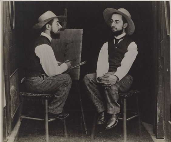 Henri de Toulouse-Lautrec como Artista y Modelo, 1892 por Maurice Guibert.