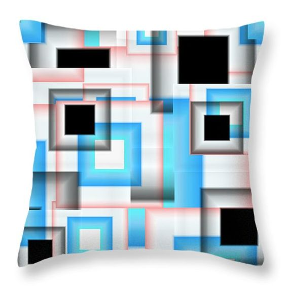 Vector Throw Pillows - Abstract Square 13 Throw Pillow by Todd and candice Dailey