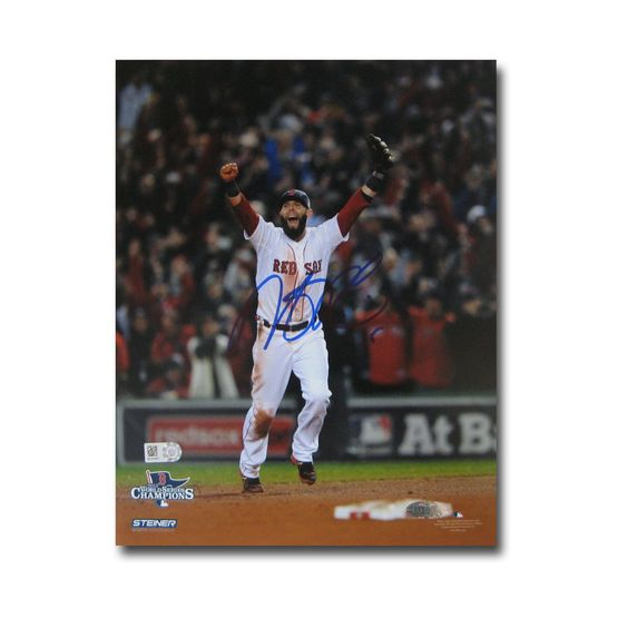 Dustin Pedroia Autographed 2013 World Series Unframed 8x10 last
