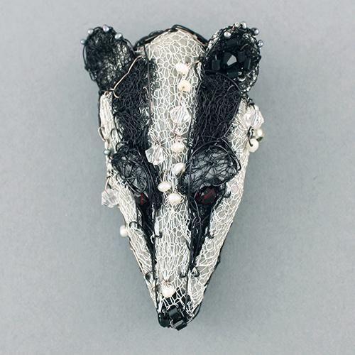 3D badger head brooch by susan horth