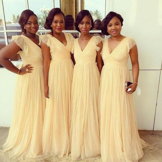 yellow bridesmaid dress,long bridesmaid dress,chiffon bridesmaid dress,v-neck bridesmaid dress,BD1620: