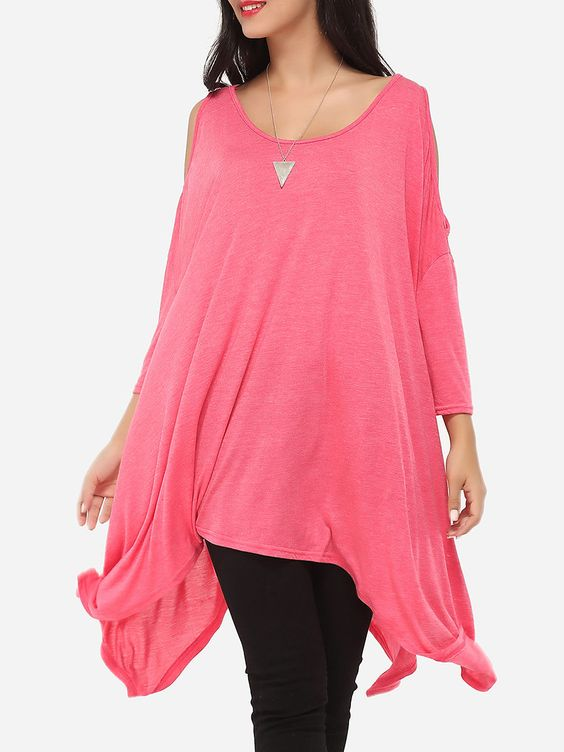 Asymmetrical Hems Scoop Neck Dacron Longline Tees Plain Long-sleeve-t-shirts