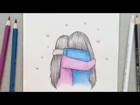 رسم سهل رسم افضل صديقات خطوة بخطوة Best Friends رسم بنات اخوات بقلم الرصاص والالوان الخشبية Bff Youtube Cool Drawings Drawings Butterfly Drawing