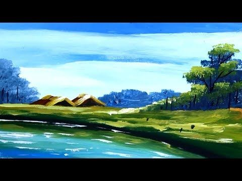 Nature Village Scenery Drawing With Acrylic Color Step By Step Colorful Landscape Landscape Paintings Acrylic Landscape Paintings