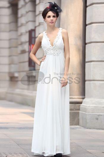 Abiti in Magazzino-Composito filo di perline abito da sera bianco