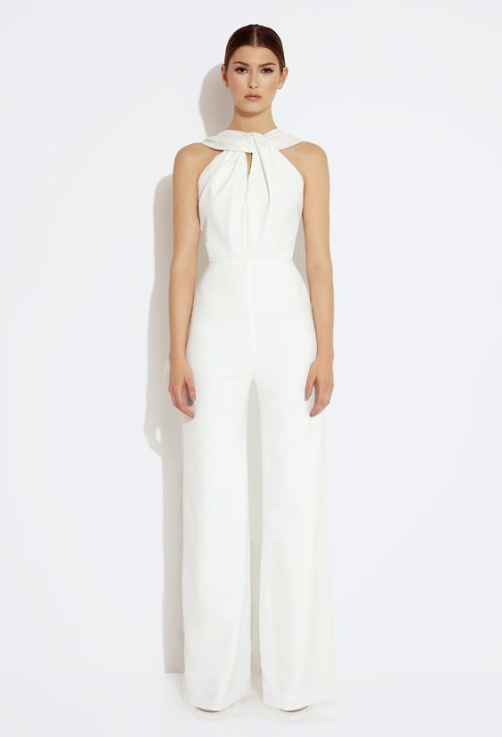 Heavenly Twisted Front Jumpsuit - Cream: