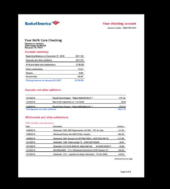 Bank, Statement, Bank America, Template, Income, Earnings, Monthly, Fake,  Custom, Printable, Direct Dep… | Statement template, Credit card statement,  Bank statement