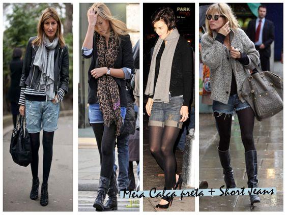 shorts jeans e bota inverno - Pesquisa Google