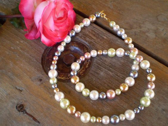 Beaded Glass Pearl Necklace Soft Pastel by Wearehomecrafting, $20.00