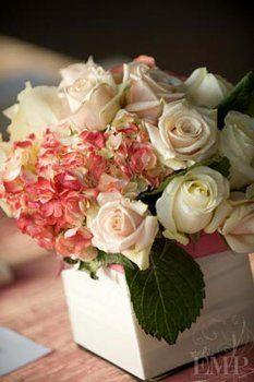 Wedding, Reception, Pink, White, Centerpiece, Roses, Silver, Vintage