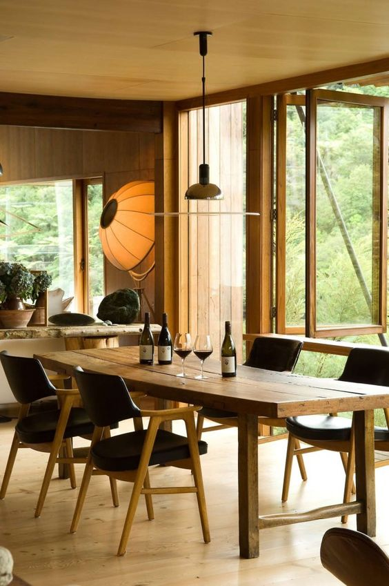open dining room designed by Pete Bossley Architects : Waterfall Bay House located @ Waterfall Bay in Marlborough Sounds, New Zealand. (interior #4) - photos via http://flodeau.com/2011/06/pete-bossley-architects-waterfall-bay-house/#