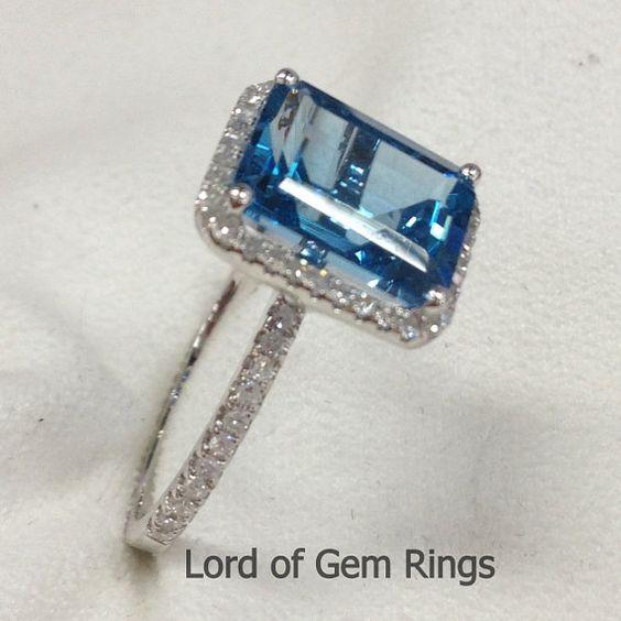 8x10mm Emerald Cut london Blue Topaz & Diamond ring 14K by TheLOGR