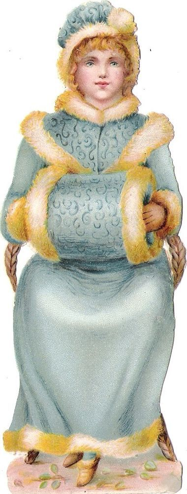 Oblaten Glanzbild scrap die cut Kind  15,4cm child lady Dame Winter Pelz Muff: