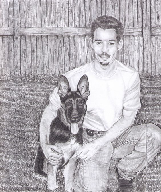 My son and his german shepard