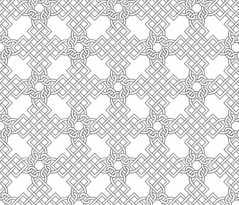 This large knotwork design is inspired by the blackwork embroidery painted on the gown of Mary Hill in an extant portrait.  The line weight is balanced so that it may be used as printed, or embroidered over for a fully period look.