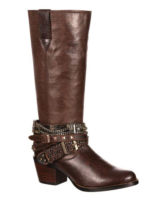This Durango Dark Brown Belted Leather Cowboy Boot by Durango is perfect! #zulilyfinds