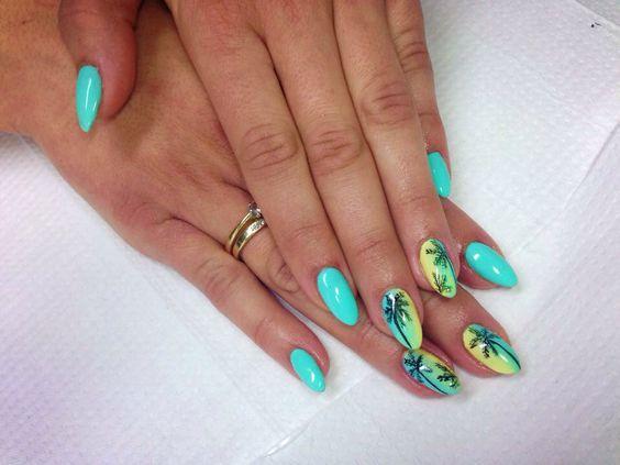 Wakacyjne Paznokcie Top 20 Modnych Inspiracji Na Letnie Hybrydy Nails Turquoise Ring Turquoise