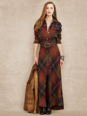 Plaid Wool-Cashmere Maxidress - Sale Dresses - RalphLauren.com