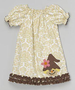 Kahki Damask Scarecrow Bishop Dress - Infant, Toddler & Girls