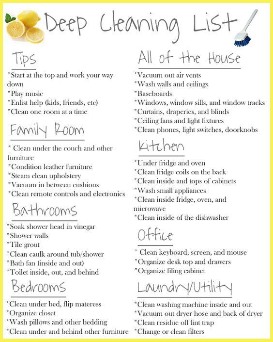 Week Cleaning Deep Checklist Top Chart