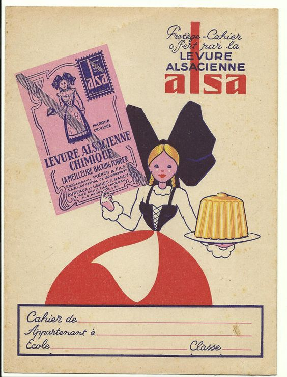 Antique French folk clothes Alsace poster - Ads for Alsa Levure - book cover. $12.00, via Etsy.