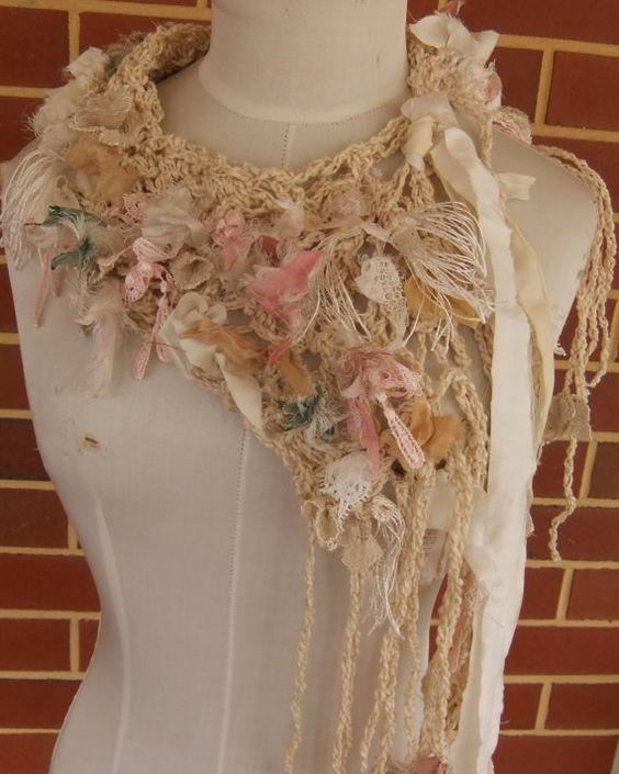 cotton silk lace hand crocheted  scarf  original design collar scarflette by plumfish on etsy