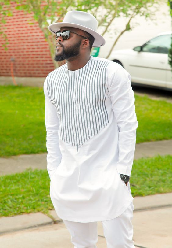 Men's African Wear, White with Gray Embroidery, African Print, African Designs, African Clothing, African Fashion: