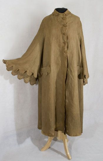 1900 linen duster, a coat worn in early motoring days to keep a woman from being completely engulfed by road goo. (Technical term.)