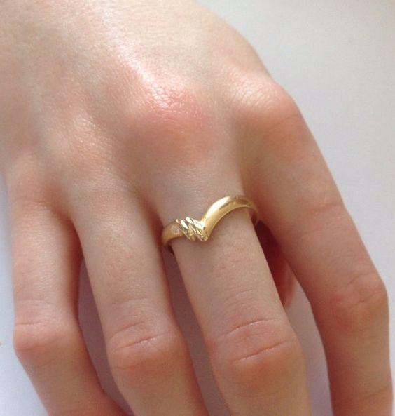 Gold Wishbone Ring 9 Carat Gold Ring Hallmarked Gold by LouSimArt