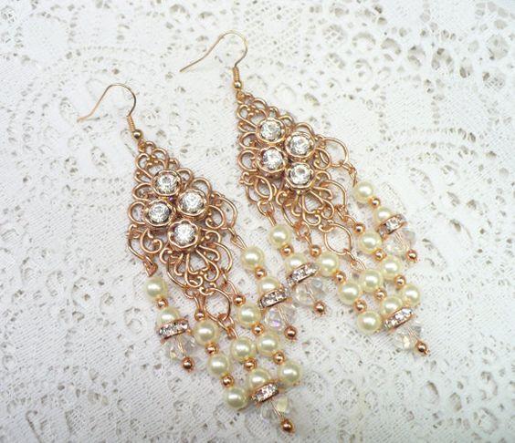 OOAK Vintage ROSE Gold PEARL Crystal Rhinestone by ElegantiTesori