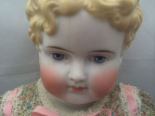 "Gorgeous China Head Doll Large 20"" Blonde with Blue Eyes and Cloth Body 