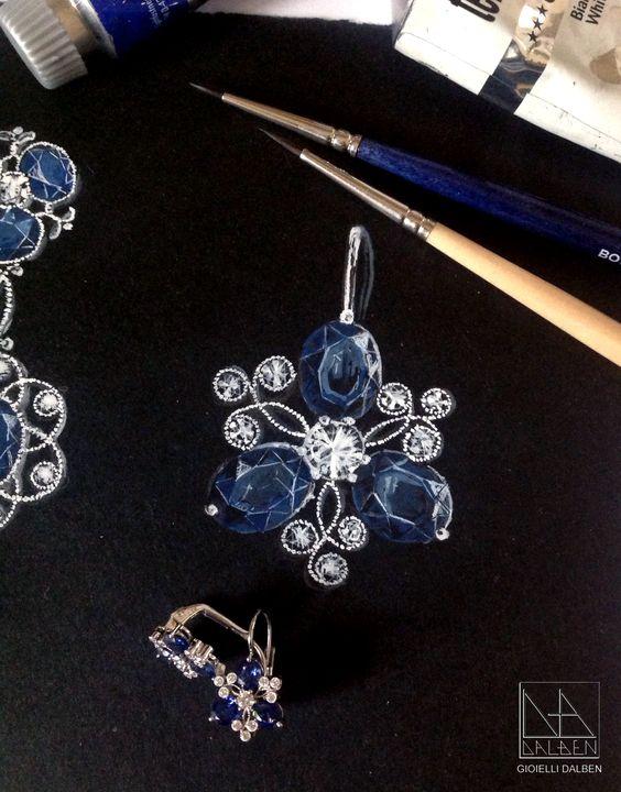 drawing for earrings sapphires diamonds white gold gioielli dalben italian fine jewelry