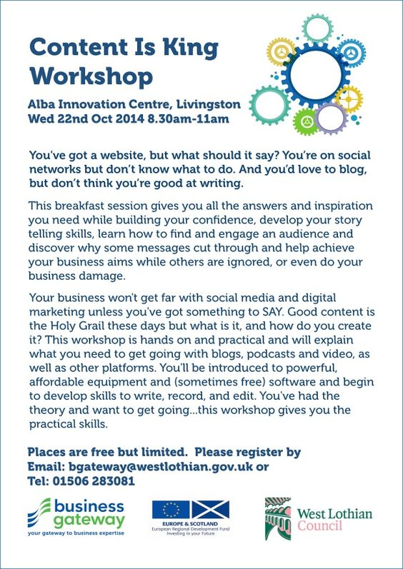 Content Is King Workshop (FREE!) Alba Innovation Centre, Livingston Wed 22nd Oct 08:30 to 11:00