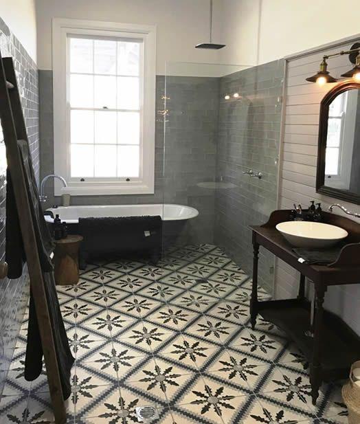Encaustic Tiles Sydney Australia Porcelain Bathroom Floor Gorgeous Bathroom Bathroom Space Encaustic Tiles Bathroom