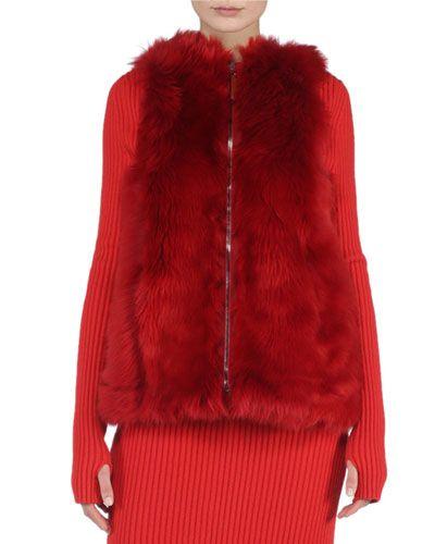 W06X4 Fendi Reversible A-Line Fur Vest, Geranium Red