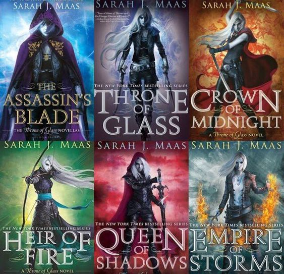 Throne of Glass series book covers, including Empire of Storms!: