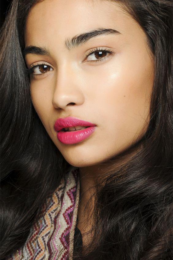 dewy skin + bright lips