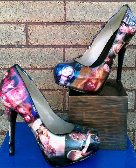 Oh my freaking god!  I don't wear heels but I would so wear this!!! Buffy the Vampire fan inspired by FaithisFabulous on Etsy, $80.00