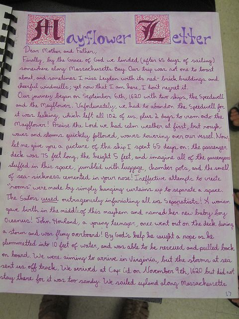 Waldorf ~ 7th grade ~ Age of Exploration and Discovery ~ Mayflower Letter