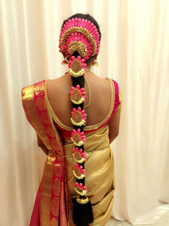 Tamilnadu Bridal Hairstyle : Traditional braids and blouse designs on