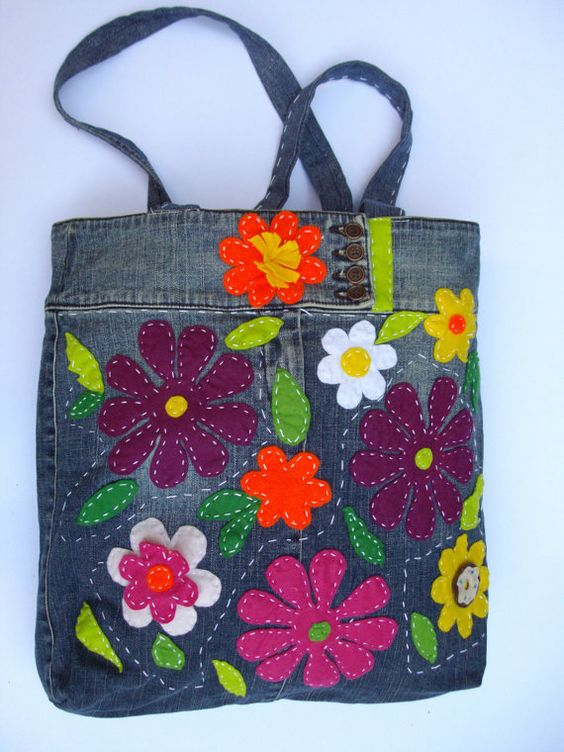 Blue jean bag with quilted flowers: