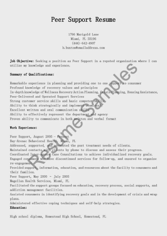 Certified Peer Specialist resume sample encouraging words for - housing specialist sample resume