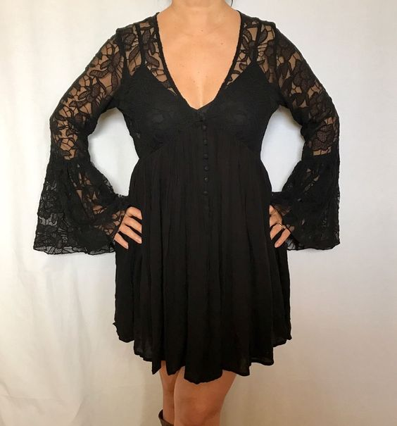 64fc803ae3e Free People With Love From India Lace Bell Sleeves Cotton Black S Dress NWT   29.5